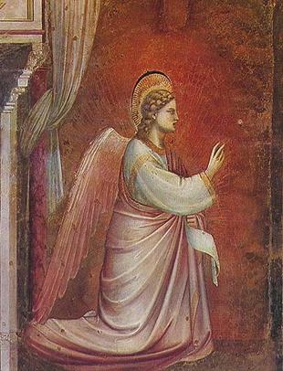 Giotto di Bondone (1267-1337), Cappella Scrovegni a Padova, Life of the Virgin, The Angel Gabriel Sent by God. Wikimedia commons : Petrusbarbygere