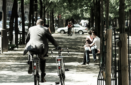 Cyclist in Paris Image courtesy Flickr