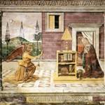 """Domenico Ghirlandaio, """"Annunciation,"""" 1482 Fresco Collegiata di Santa Maria Maggiore, Spello"""