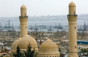 Azerbaijan skyline with oil derriks