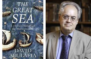 "The author David Abulafia and the cover of ""The Great Sea"""
