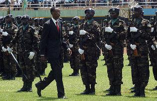 President Kagame of Rwanda inspecting troops