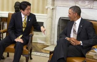 Japanese Prime Minister and Shinzō Abe and US President Barack Obama