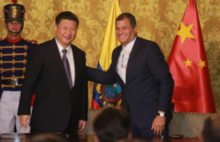 Ecuadorean president Rafael Correa meets Chinese President Xi Jinping